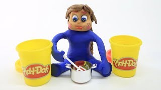 PLAY DOH COLOR-MIX! In Blue Princess Baby Superhero - Stop Motion Cartoons For Kids #35