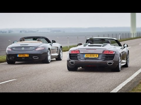 Mercedes Sls Roadster Vs Audi R8 Spyder Youtube