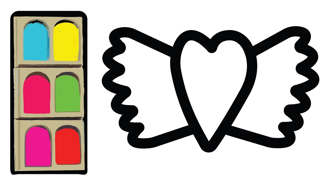 Corazon Con Alas Colorear - Learn Colors