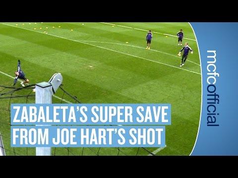 ZABALETA SAVES! Pablo Zabaleta's Super Save from Joe Hart's Shot | Man City Training