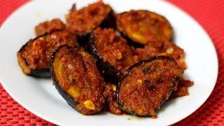 Eggplant with  Spicy Tomato Dry - Spicy Masala Baingan- Baingan Masala Recipe - Brinjal Recipe