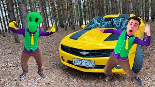 Alien Mr. Joe ATTACKED Red Man on Chevrolet Camaro in Woods VS Mr. Vlad found Steering Wheel 13+