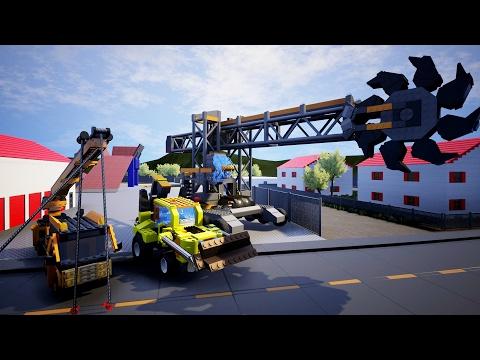 CONSTRUCTION EQUIPMENT, HUGE Excavator, Backhoe + Crane - Brick Rigs Workshop Creations - Gameplay