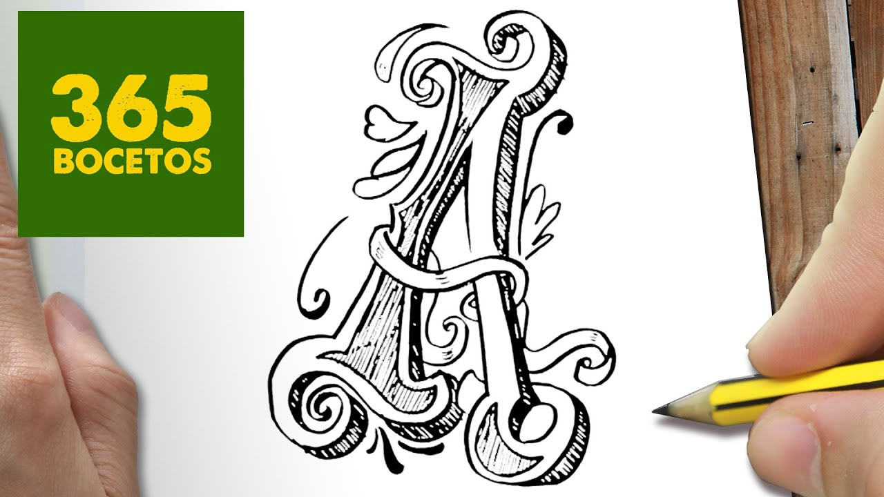 COMO DIBUJAR LETRA A PASO A PASO , Dibujos kawaii faciles , How to draw A ,  YouTube