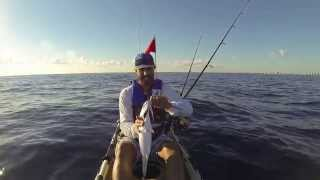 kayak fishing Pompano Beach,Fl, 10 12 2013. vertical jigging. Offshore kayak fishing