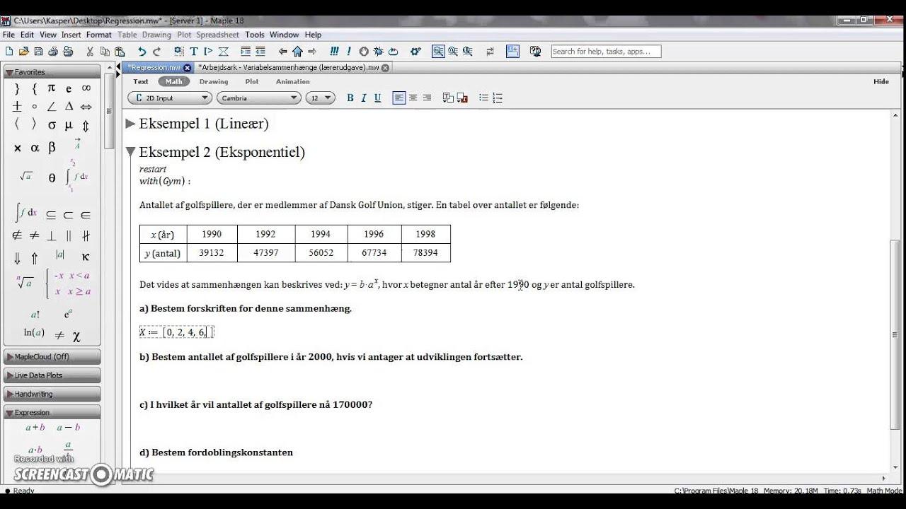 Regression - lineær, eksponentiel og potens (med hjælpemidler)