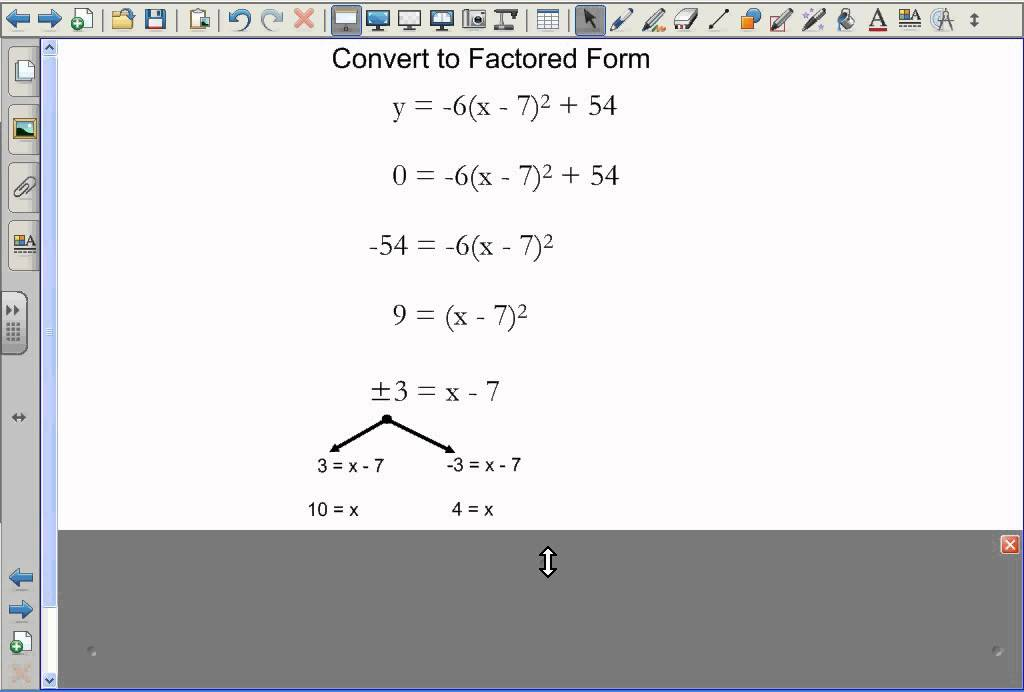 Converting Vertex Form to Factored Form - YouTube