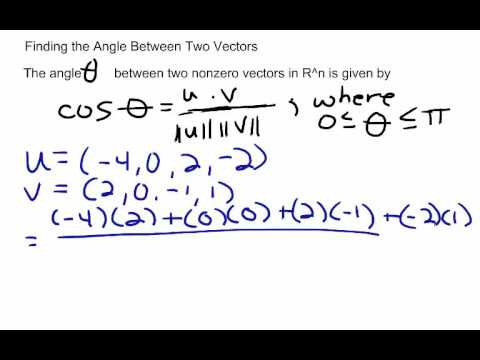 Linear Algebra- Finding the Angle between Two Vectors - YouTube