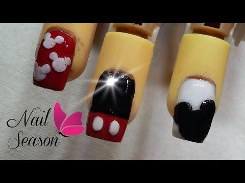 Uñas Decoradas Mickey Mouse Nail Art Paso A Paso 2017 Youtube