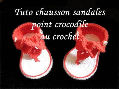 tuto chausson sandales au crochet point de crocodile facile youtube. Black Bedroom Furniture Sets. Home Design Ideas