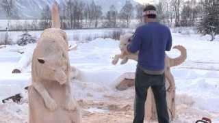 Siberian Husky Bench Carved By Jordan Anderson