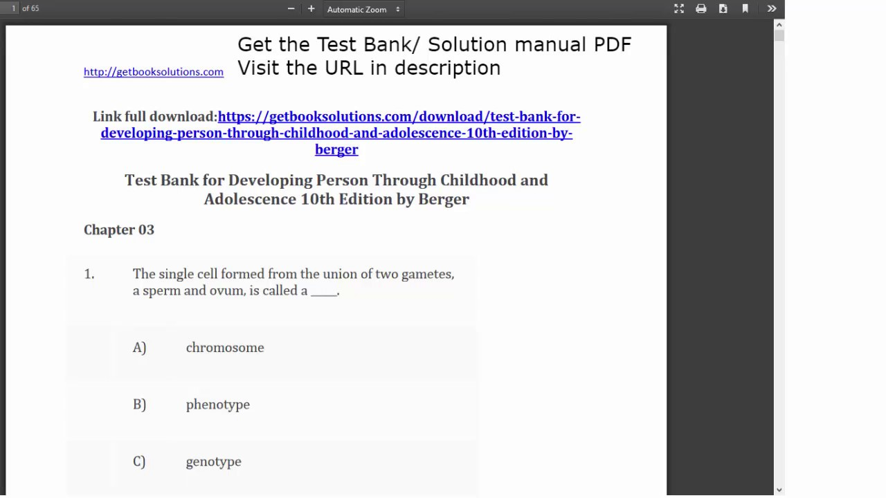 Test bank for developing person through childhood and adolescence test bank for developing person through childhood and adolescence 10th edition by berger youtube fandeluxe