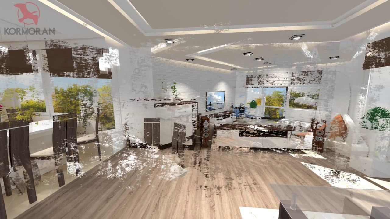 Projekt 3d Salon Z Otwartą Kuchnią I Jadalnią Kormoran żagań