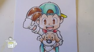 How to draw Harvest Moon boy and dog (Back to Nature)