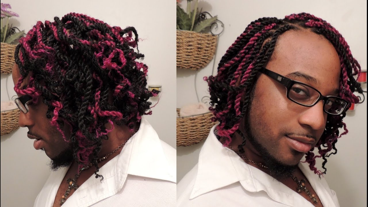 386 - Black & Pink Kinky Twist Bob Hairstyle - YouTube