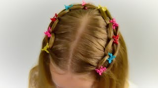 3 MINUTES!! LOOP WATERFALL BRAID. Quick and Easy hairstyle for little princess #44