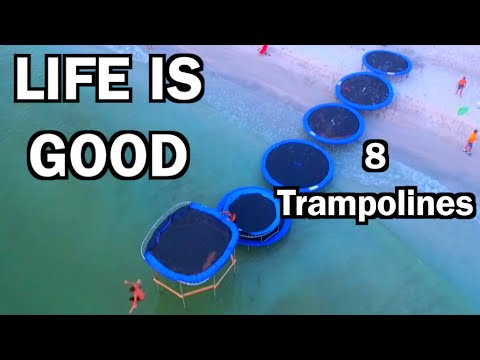 LINE OF TRAMPOLINES TO THE OCEAN!!!