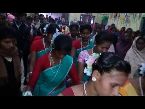Santhali Christmas entrance dance in Kishanganj Church Bihar.