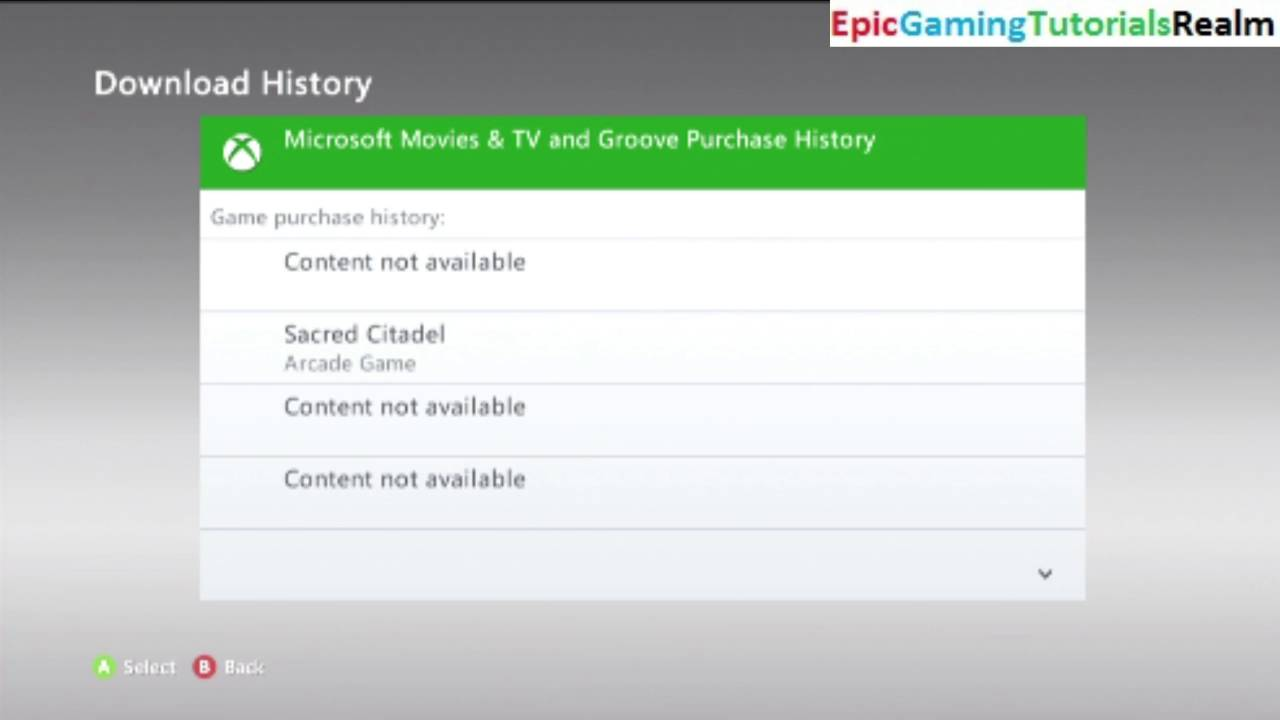Tutorial For How To View The Download History On The Xbox 360
