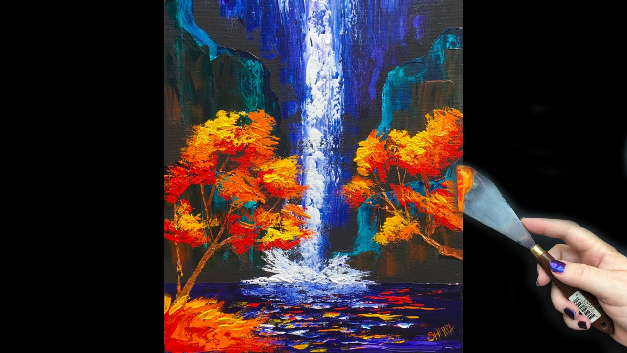 Beginner pallete knife fall waterfall tutorial youtube for Painting on black canvas tips