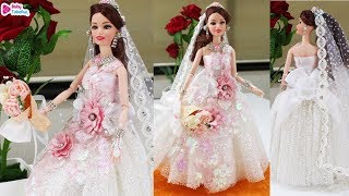 Barbie doll Bridal Gown making | Christian bridal doll dress and jewellery | Barbie lehenga making