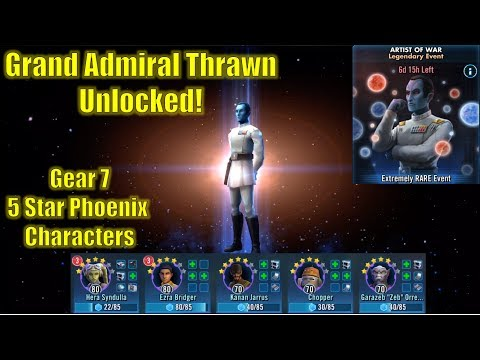 Star Wars Galaxy of Heroes: Grand Admiral Thrawn Unlocked!! G7 5* Phoenix Beat Tier 5