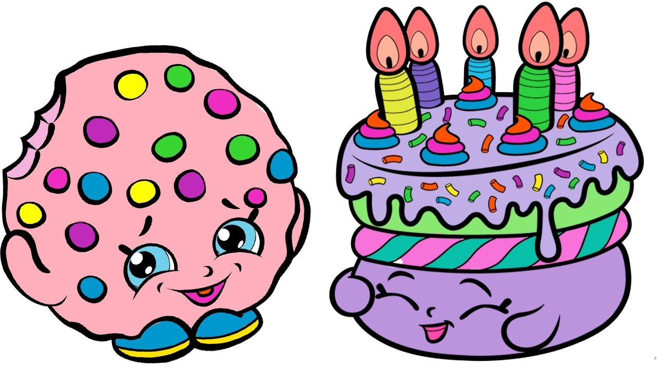Coloring Pages Shopkins Kooky Cookie And Birthday Cake Book Video Creative