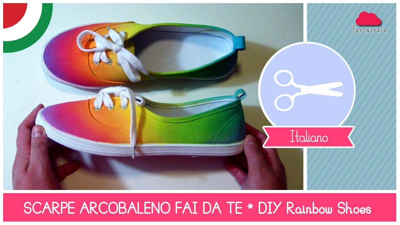 Scarpe arcobaleno fai da te rainbow shoes fashion diy for Copertura pergolato fai da te