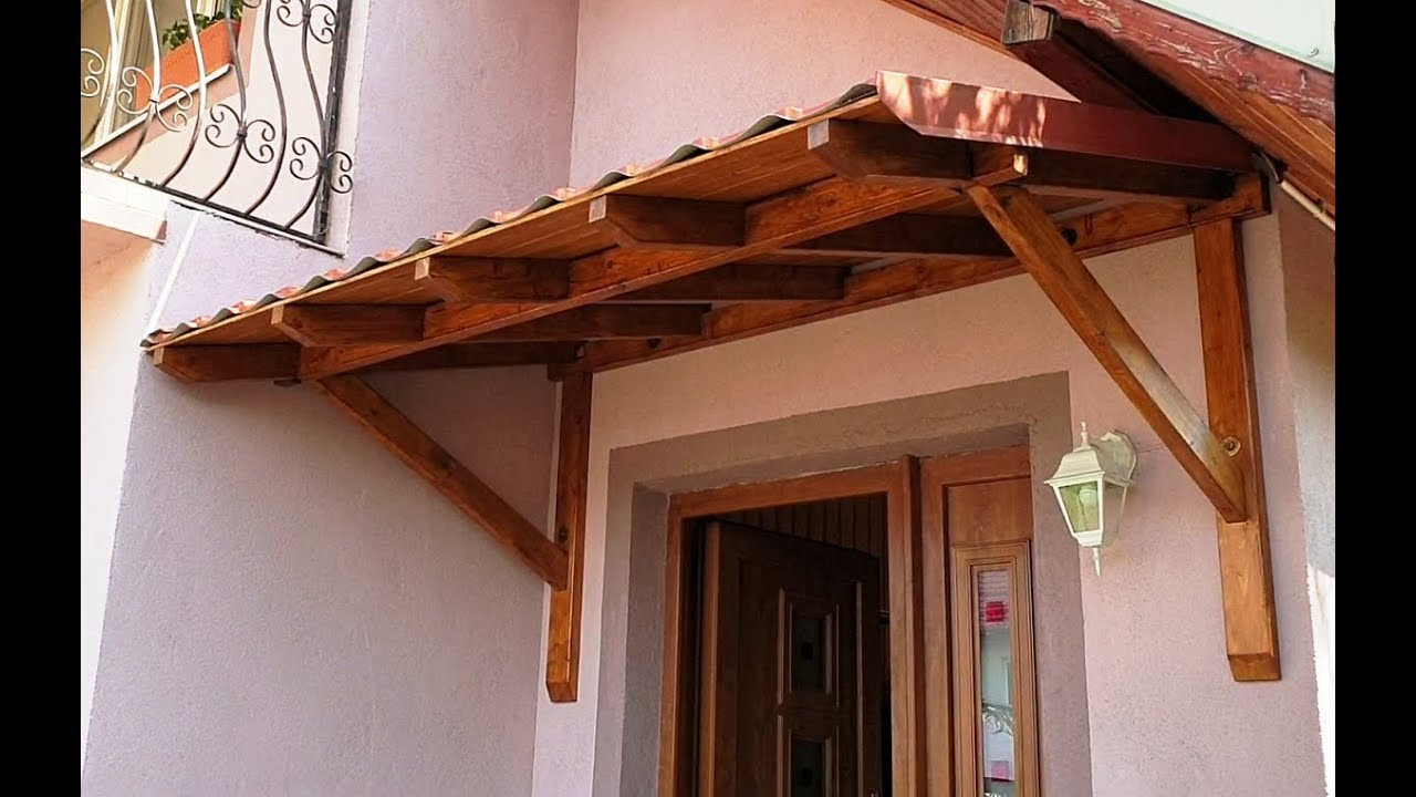 Download Big beautiful door canopy made of 45x95x2400mm beams