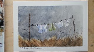 Line and wash of Wash on the Line :) Masking tape to preserve whites. Watercolor. Peter Sheeler