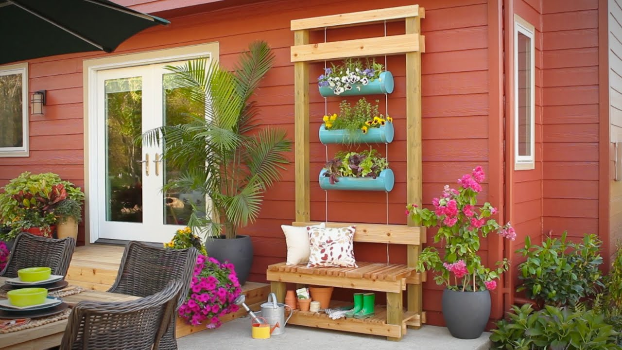Charming Outdoor Planter Bench