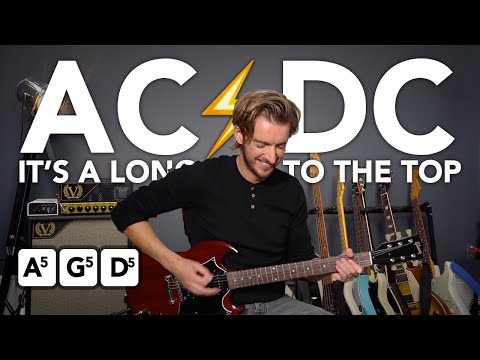 AC/DC Long Way To The Top Guitar lesson tutorial - Easy 3 chord Rock song