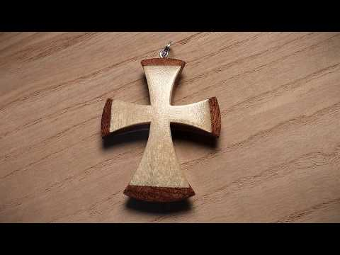 How To Make A Wooden Cross Pendant Mahogany Birch / Drewniany krzyżyk