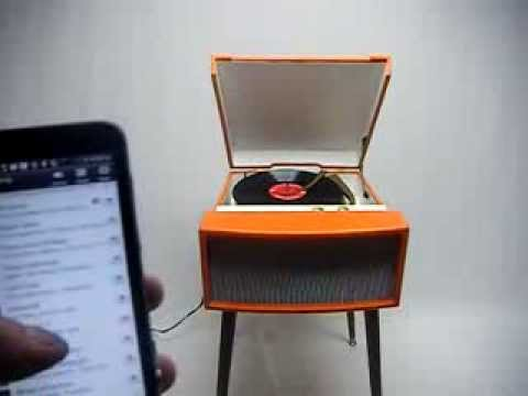 Mid Century Modern Stereo Record Player Voice of music Bluetooth