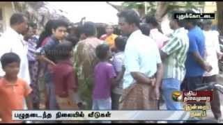 Roof cracked down in Government quarters near Pudukkottai