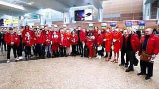 Российских фигуристов торжественно проводили на чемпионат мира в Стокгольме