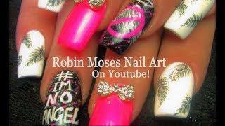 Nail Art! Imnoangel Hot Neon Pink Feather Nails Design Tutorial