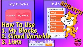 How to use MyBlocks, List & Cloud variables in Scratch | Easy Scratch tutorial for beginners & kids