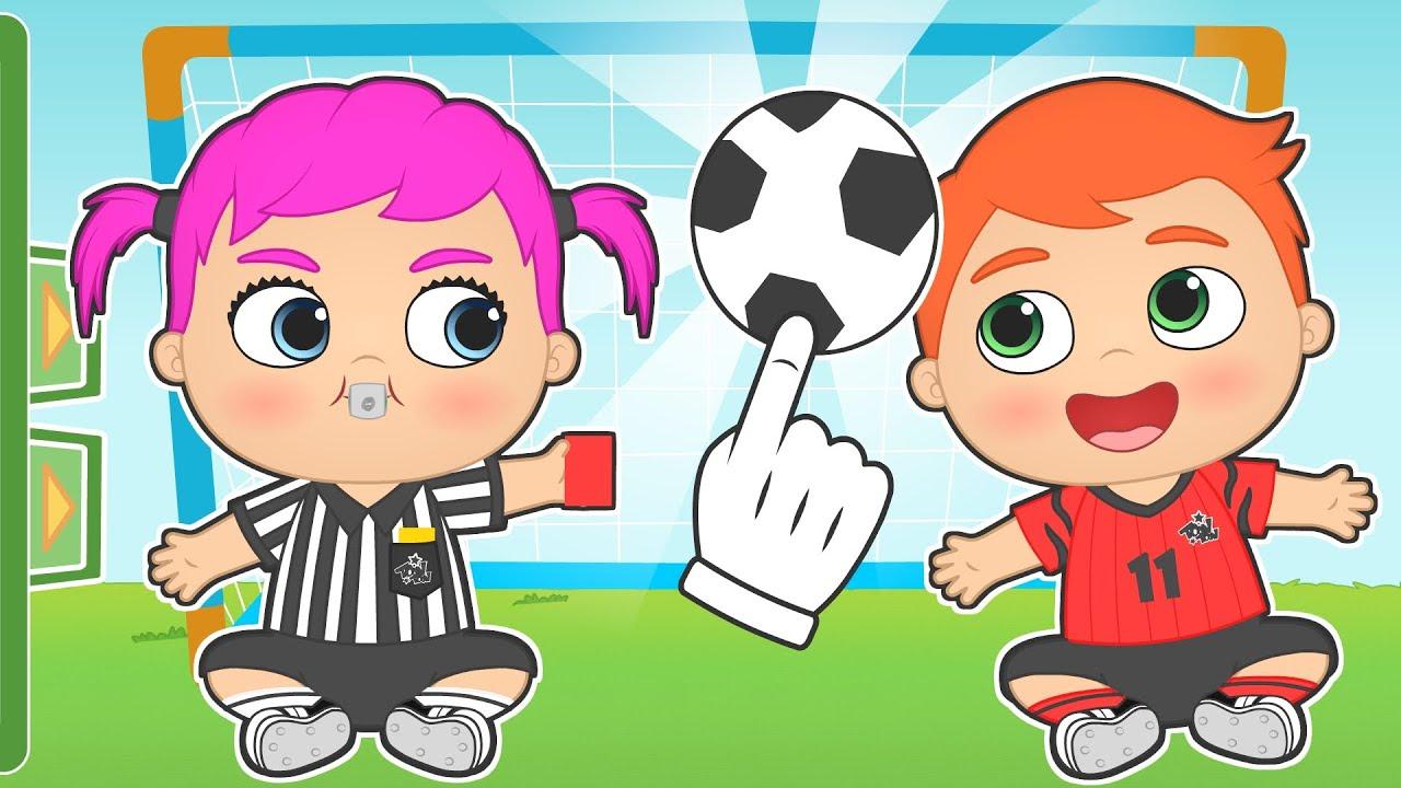 BEBÉS ALEX Y LILY ⚽💥 Se visten de árbitro y jugador de Fútbol 👣 Gameplay para niños