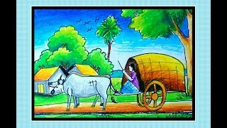 Drawing a Bullock Cart step by step.....