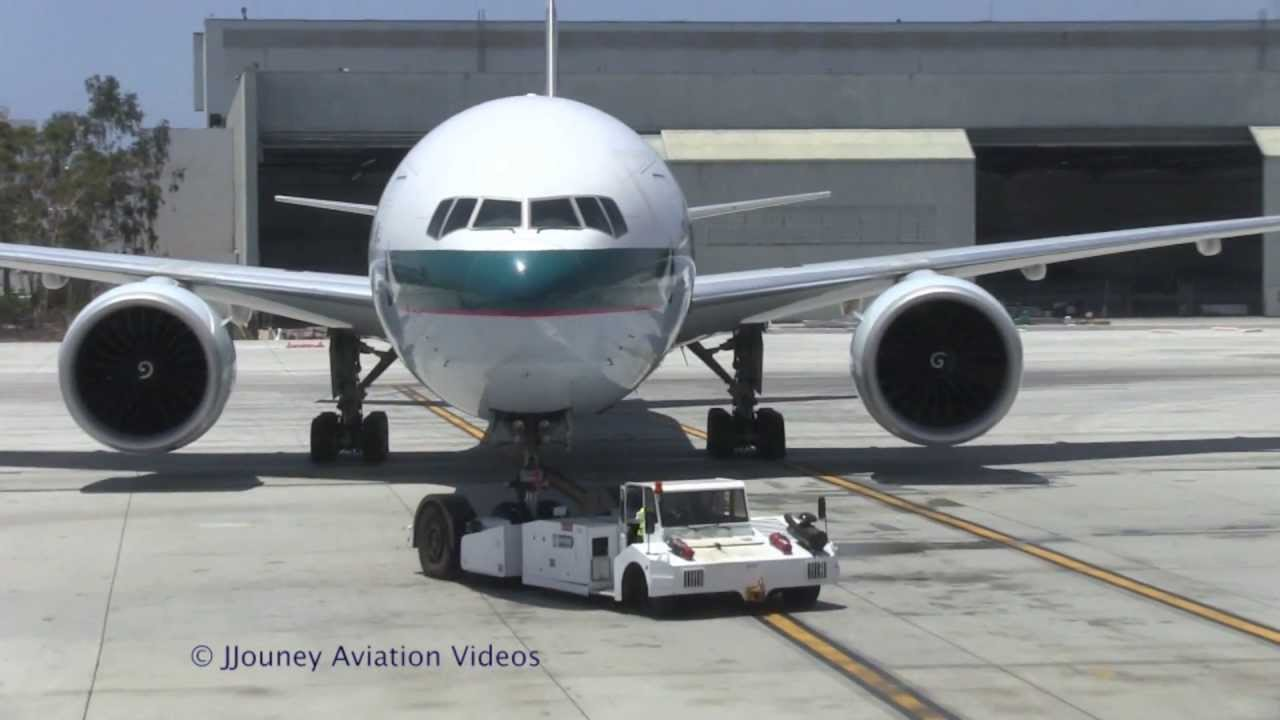 cathay pacific 777 push back from lax tbit youtube