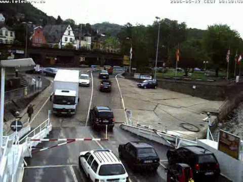Rhine ferry in Linz Germany in timeLapse