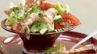 Овощной салат с креветками. Легкий салатик без майонеза.