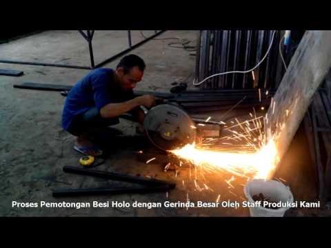 Proses Potong Besi Grinda Besar