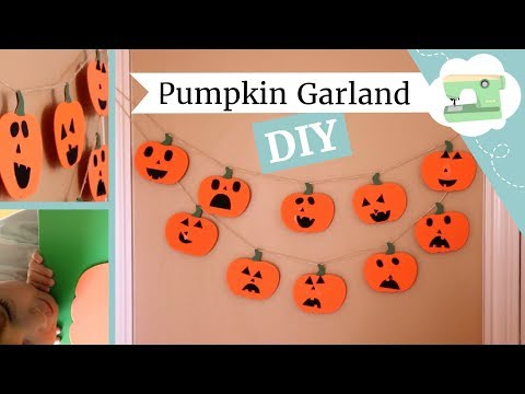 DIY Jack-O-Lantern Pumpkin Garland - Easy Halloween Craft for Kids!