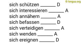 A1, A2, B1, B2, C1, Übungen, Reflexiv, Pronomen, Akkusativ, Dativ, Wechselpräpositionen, sich, mich,