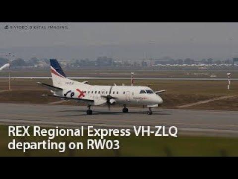 REX Regional Express (VH-ZLQ) Saab 340B departing on RW03.
