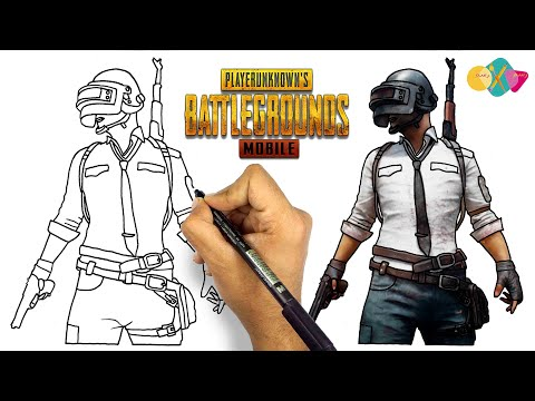 how to draw pubg character || drawing pubg man from pubg game
