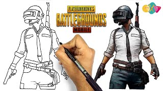 how to draw pubg character  drawing pubg man from pubg game
