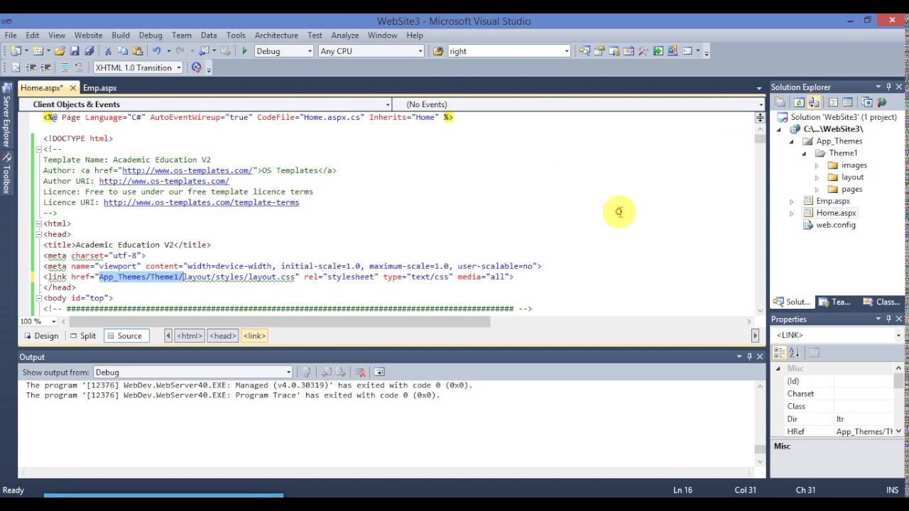 How to add CSS Template in asp.net Website - YouTube